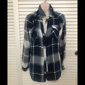 Rails Hunter plaid rayon thick button down shirt L